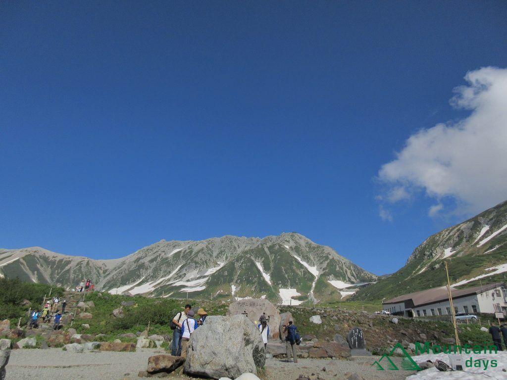 室堂から見る雄山と一ノ越山荘